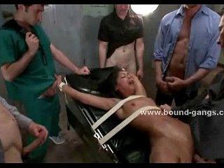 Man nurse fucks in underground gangbang