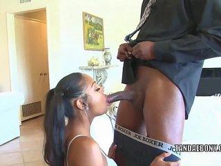 Ebony babe Bella Bugatti is bouncing on a stiff dick