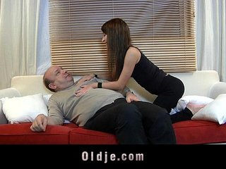 Old man devoured by a young beautiful creature