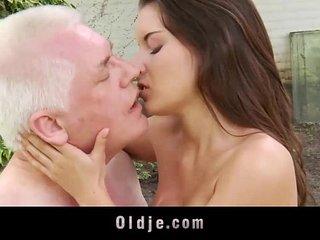 Petite hot mistress masturbates while fucking cheating gray grandpa